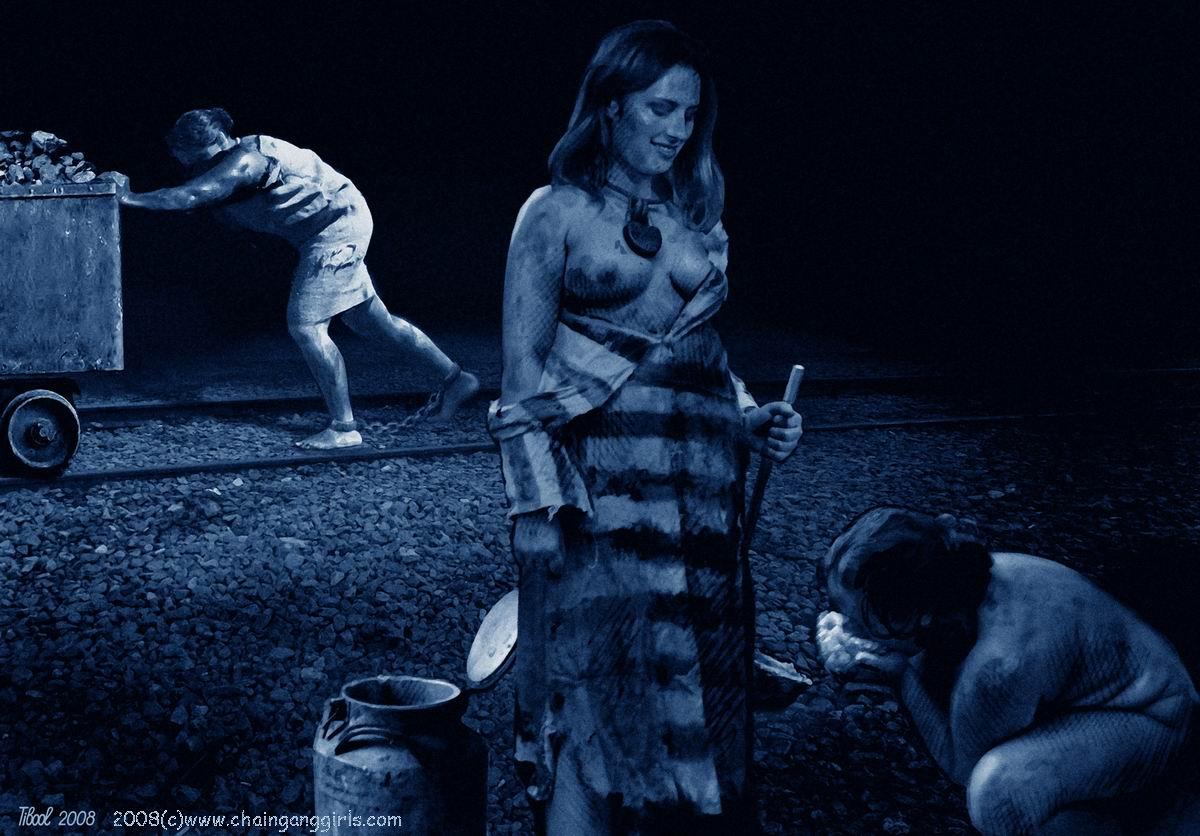 Pity, Naked slave girl chain gang